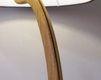 Solid pippy oak hand made floor lamp