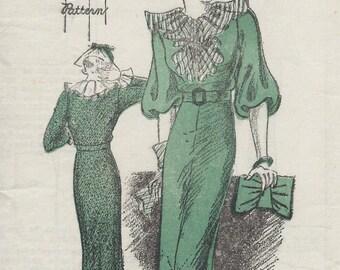 1930s Vintage Sewing Pattern B32 DRESS (1531) By New York Pattern 111