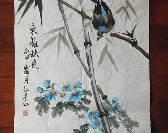 Traditional Chinese Painting, Original Painting, Bird, Bamboo, Flower, Ink & watercolor Painting, Study Decoration, chrysanthemum