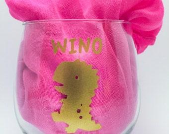 funny wine glass, wino saur, novelty wine glass, wine lover