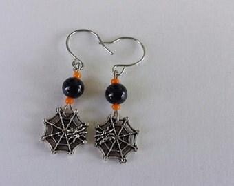 Orange and Black Spider Web Earrings