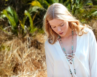 White Kaftan maxi dress with aqua color pompoms and a Deep V neck - Long sleeve white Kaftan dress - Boho chic dress