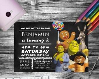 Shrek, Shrek costume, Shrek party, Shrek birthday invitation, Shrek invitation, Shrek invites, Shrek and fiona, Fiona invitation
