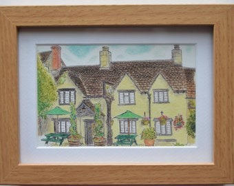 Country pub pen and ink watercolour sketch