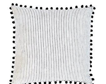 Black and White Pom Pom Throw Pillow - Striped Linen Decoritive Pillows - Black and White Home Decor - Pom Pom Accessories - Classic Stripes