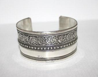 Boho bracelet, Silver Bracelet, Tribal Bracelet, Gypsy bracelet, filigree bracelet, Navajo Bracelet, Tibetan bracelet, statement bracelet