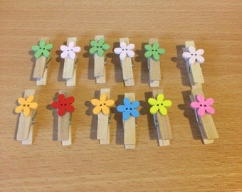Handmade wooden clips with flowers or hearts