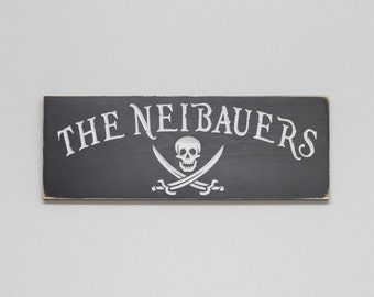 Personalized Pirate Sign Jolly Roger Carved and Distresed