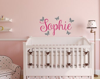 Name Wall Decal Girl   Butterfly Wall Decal   Custom Name Wall Decals    Personalized Name Part 26