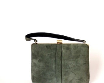 vintage olive green handbag . 1950s Escort purse NOS with mirror & coin purse . green microsuede purse . hard body purse