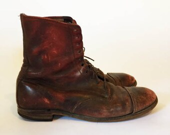 Vtg THRASHED OXBLOOD BOOTS//Leather Paddock Boots//  Ladies 9-9.5
