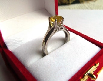 7mm Round Brazilian Heliodor of 1.26 Carats in a Sterling Silver Tulip Ring, Size Seven