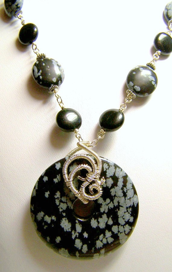 Snowflake Obsidian, Blackstone and Sterling Silver Wire Wrapped Gemstone Statement Necklace