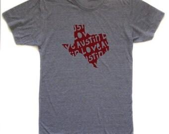 austin tshirt, austin graphic t, state pride tshirt, unisex, neutral, silkscreened tshirt, witty tshirt, men's gift, free ship