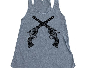 Vintage Crossed Revolver Pistol Tank Top - Tri-Blend Tank - Available in sizes S, M, L, XL