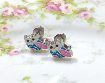 Pastel Owl Stud Earrings, Enameled Metal Studs, Tiny Bird Studs, Tiny Owl Studs, Pink Owl Studs, Enamel Jewelry, KreatedByKelly