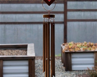 Wind Chime Colorful Kaleidoscope With Large Copper Chimes Red Purple stained glass windchimes