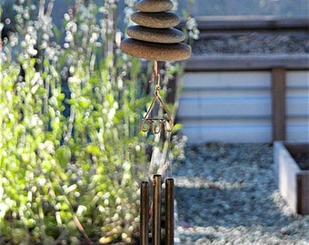 Wind Chime Natural Beach Stones windchime windchimes Zen Garden