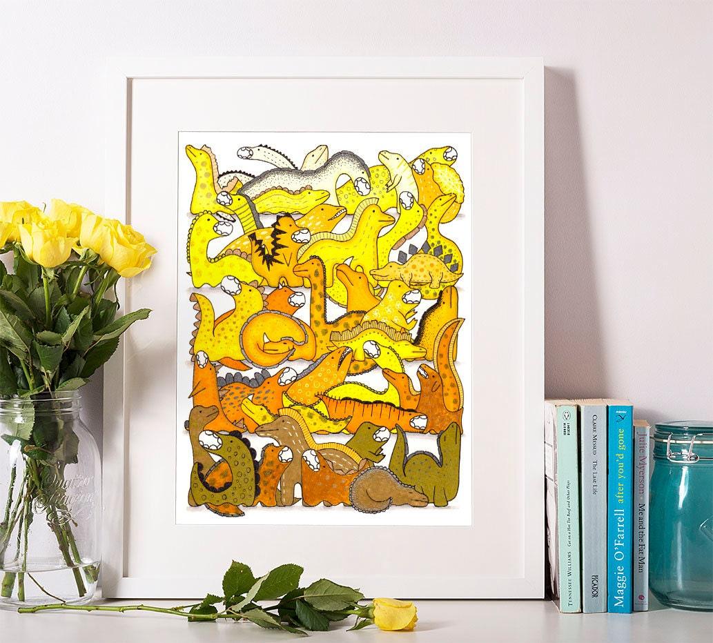 Yellow Dinosaur Printable, Cute Dinosaurs Nursery Wall Art, Kids ...