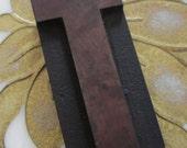 Antique Letterpress Wood Type Printers Block Letter T