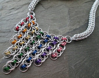 Chainmaille Necklace - Helm and Full Persian - Rainbow Jewelry - Rainbow Chainmaille - Pride Necklace - Chainmail Jewelry