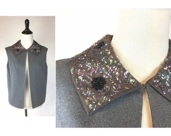 Vintage Steel Grey Vest with Beaded Sequined Collar - Iridescent Sequins and Black Seed Bead Flower Dots - Wool Vest Pewter Satin Lining