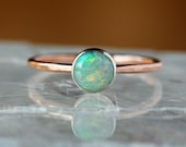 Opal Ring, 14k SOLID Gold, Genuine Opal, Eco Friendly Recycled Metal, October Birthstone, Opal Stacking Ring, 6mm Size Gemstone