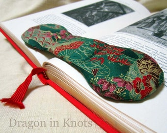 Handmade Book Weight - Japanese style Fans and Flowers Dark Green Fabric Bookweight Page Holder, Reading Accessory for booklovers, students