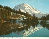 Vintage 1970s Postcard Washington Mount Rainier National Park Eunice Lake Scenic Nature View Photochrome Era Postally Unused