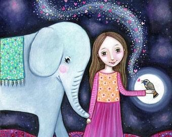 Elephant and Girl Art Print Nightingale Painting Whimsical Folk Art Nursery Picture Children's Wall Decor Art Gift for Little Girl Elephant