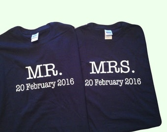 Engagement Wedding Gift for the Mr and Mrs  100% Cotton Personalized  Tee Shirts