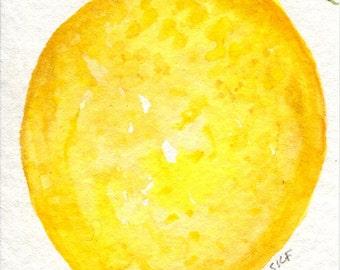 ACEO Original Lemon, leaves Watercolors Painting, Lemon art card, original watercolor painting of lemon, small lemon art, SharonFosterArt
