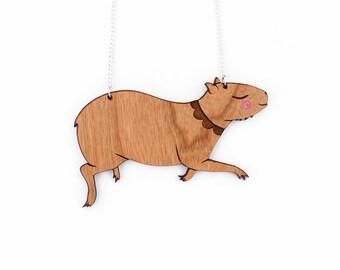 Capybara Necklace- cherry wood hand painted laser cut illustration - capybaras jewellery jewelry
