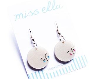 Moon earrings -  pearl acrylic laser cut platinum pearl pearlised pearlescent hand painted