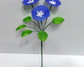 Beaded Flowers French Beaded Trio of Morning Glories