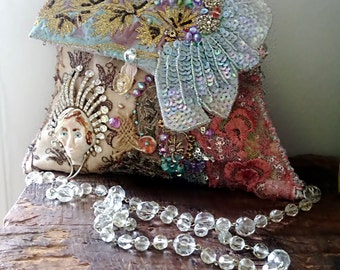 Sparkly Queen Bag, Porcelain Lady, Beaded, Vintage Embroidered, Bohemian, Purse, Pastel, Cute Bag, Dance Bag
