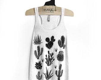 Large -Tri-Blend Heather White Racerback Tank with Cactus Screen Print