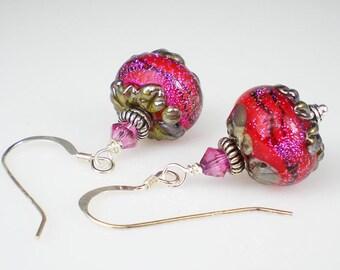 Raspberry Red Dichroic Lampwork Earrings Fuchsia Ruby Red Shimmery Drop Earrings Jewelry