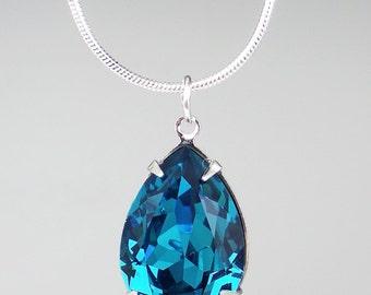 Teal Blue Rhinestone Necklace Swarovski Indicolite Wedding Jewelry Bridesmaid Necklace