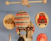 Baby Mobile Vintage Chevy Trucks  - Wood Mobile - Chevrolet - Black Red and Grey