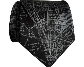 New York City Map Silk Tie. Lower Manhattan, NYC streets & subway map necktie. Silkscreen print men's tie. Choose narrow or standard size.