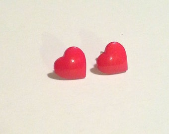Cute as a Button Plastic Red Heart Sterling Silver Earrings