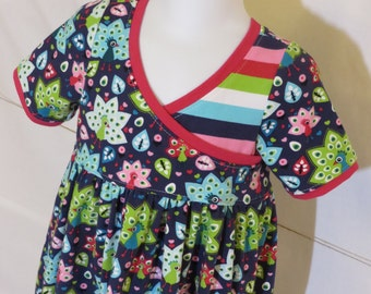 Girls Knit Peacock Play Dress Crossover Bodice Size 4