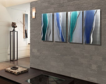Blue, Silver & Teal Contemporary Metal Wall Art - Modern Home Decor - Wall Accent - Painted Metal - Glacier Falls 4 by Jon Allen