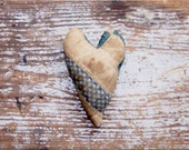 Primitive Heart, Valentine Heart, Blue Polkadot Antique Quilt Heart, Rustic Wedding Decor, Handmade in the USA - READY to SHIP