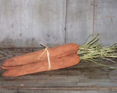 Primitive Carrots - bunch of 3, Orange Carrots, Easter Decor, Spring Decor, Soft Sculpture  Carrots - READY TO SHIP