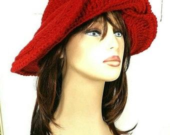 60th Birthday Gift for Women,  Custom Floppy Hat,  Womens Crochet Hat,  Crochet Womens Hat Trendy,  Red Hat,  Frontier Wide Brim Hat
