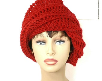 Womens Crochet Hat,  Womens Hat Trendy,  Crochet Beanie Hat,  Red Hat,  Judy Beanie Hat Womens,  Judy Hat