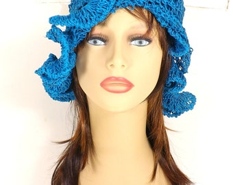 Crochet Sun Hat for Women, Floppy Sun Hat, Floppy Hat, Womens Hat, Hemp Hat, Crochet Bucket Hat, Cynthia Turquoise Hat with Ruffle