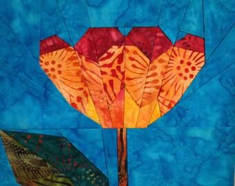 Tulip Bloom Paper Pieced Quilt Block Pattern